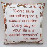 Cross Stitch Pillow, Rust Brown Pillow, Special Occasion Quote