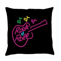 ROCK AND ROLL NEON ON BLACK EVERYDAY PILLOW