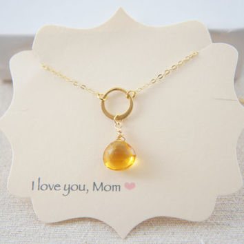 Citrine topaz yellow quartz and gold vermeil circle necklace, gift, holiday, pendant, wedding
