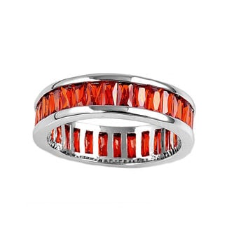 925 Sterling Silver CZ Eternity Baguette Simulated Ruby Ring 4MM
