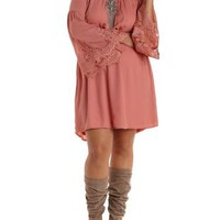 Plus Size Blush Lace Bell Sleeve Dress by Charlotte Russe
