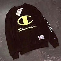 Champion Fashion Casual Long Sleeve Sport Top Sweater Pullover Sweatshirt Black I-PSXY