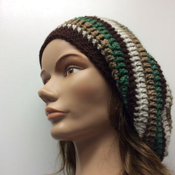 Slouchy hat, Rasta hat, hippie hat, winter hat, dread tam, hand crochet, handmade, boho, green, tan, brown ,gift idea