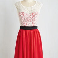 Mid-length Cap Sleeves A-line Shortcake Story Dress in Red