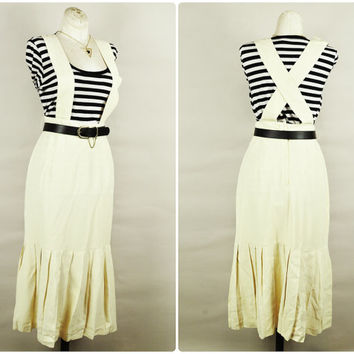 1980s buttercream criss cross back suspenders drop pleated waist skirt grunge boho vintage