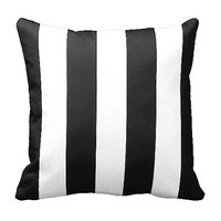 One 22x22 Pillow Cover Throw Pillow Cover Decorative Pillow Black Pillow Stripes Black Home Decor Sofa Pillow Toss Pillow Black and White