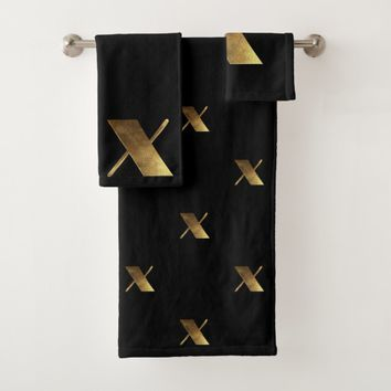Monogram X Black and Gold Look Elegant Typography Bath Towel Set
