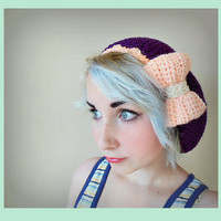Dark Purple Crochet Beret Hat with Soft Pink Bow - Women's Medium