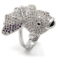 Rhodium Plated Multi Color Cubic Zirconia Pave Fish Ring