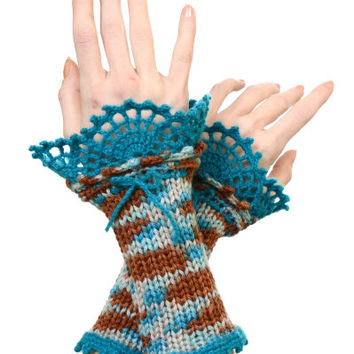 Fingerless Gloves - Pure Merino Wool Knitted Wrist Warmers With Turquoise Crochet Lace Decoration