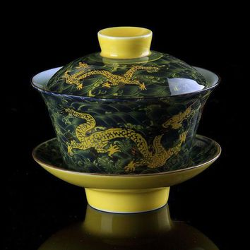 ESBU3C Chinese Tea Set Gaiwan Porcelain,Traditional Dragon Kung Fu Tea Set Tureen Ceramic Wedding Tea Bowl Cup,Gongfu Porcelain Gaiwan