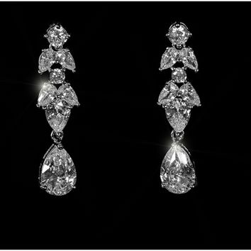 Marla Cluster Linear Dangle Earrings | 6ct | Cubic Zirconia | Silver