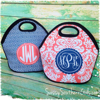 Monogrammed Lunch Tote , Monogrammed Lunch Bag, Personalized Lunch Tote, Monogrammed Lunchbox, Design Your Own Lunch Tote, Mongrammed Gift