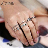 Vintage jewelry new design 6 pcs/ lot rings set antique silver turquoise