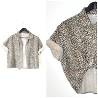 boxy LEOPARD print LINEN blouse vintage 1980s 80s NEUTRAL animal print button up short sleeve cropped safari shirt open size os