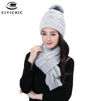 CIVICHIC Lady Autumn Winter Knit Hat Scarf Set Korean Twist Pompon Beanies Skullies Velvet Ball Thicken Shawl Crochet Cap SH159