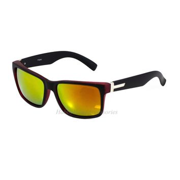 2-PAIR Retro Large Men Matte Square Wayferer Red/Black Frame Orange Mirror Lens