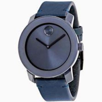 BRAND NEW MOVADO BOLD BLUE DIAL BLUE LEATHER STRAP MENS WATCH :3600370