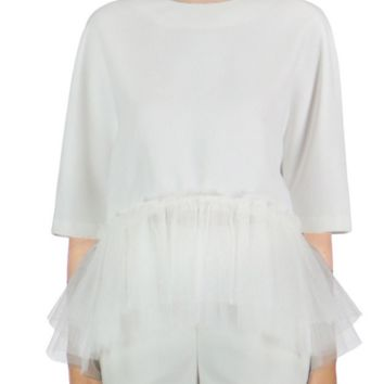 White Tulle Peplum Top by English Factory