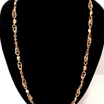 10K Gold Italian Chain Necklace  Handmade Curved Interlocking Links  Geometric Pyramid Separator Links  24 1/2 Inches  High End Vintage
