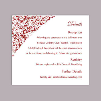 DIY Wedding Details Card Template Editable Text Word File Download Printable Details Card Wine Red Details Card Elegant Enclosure Cards