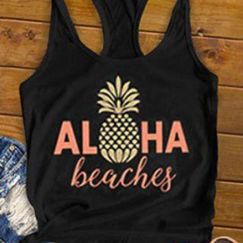 Aloha Beaches Pineapple Sleeveless Tank Top