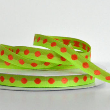 "1 yard 3/8"" polka dot grosgrain ribbon,green grosgrain ribbon,embellishment,home decor,gift wrapping,card making,hair bows,scrapbooking."