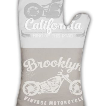 Oven Mitt, Vintage Motorcycle Set Painted With Watercolors