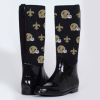 New Orleans Saints Cuce Shoes Women's Enthusiast II Rain Boots – Black - http://www.shareasale.com/m-pr.cfm?merchantID=7124&userID=1042934&productID=525390239 / New Orleans Saints