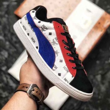 MCM X PUMA Wing Print Logo Women Men Trending Sneakers Flat Shoes B-CSXY White/Blue/Red