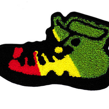XL Extra Large Vintage Style Rasta Reggae Chenille High Hi Top Basketball Star Sneaker Shoe Patch Badge (14cm)