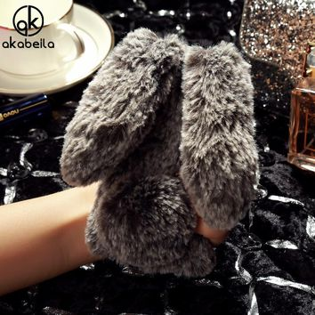 AKABEILA Fluffy Rabbit Fur Silicon Cases For iPhone 5s iPhone 5SE iPhone5C Case Covers Back For Apple iPhone 55S Cover Shell