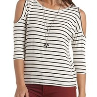 Striped Cold Shoulder Top by Charlotte Russe - Black/White