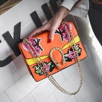 Floral Embroidery Chain Shoulder Bags