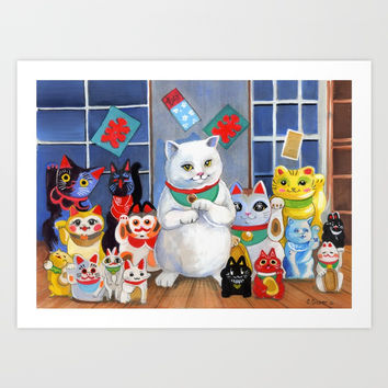 Lucky Cats Art Print by Christina Siravo