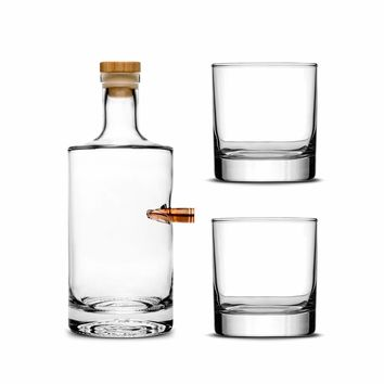 Custom Etched Refillable .50 Cal Jersey Bottle with Set of 2 Custom Whiskey Glasses