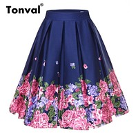 Retro Floral Print Vintage Pleated Plus Size Skirts