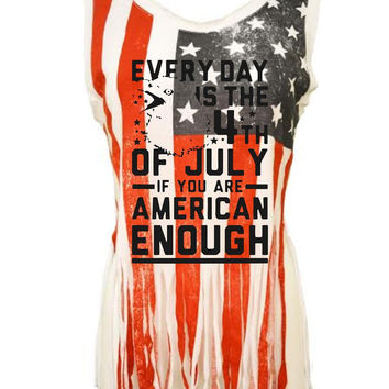 Every day is the 4th of July Women's Shredded Us Flag Tanktop