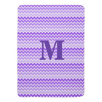 Personalized Monogram Purple Ombre Chevron Stroller Blankets