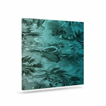 """Ebi Emporium """"Forever Flowers, Teal Ombre"""" Teal Gray Watercolor Canvas Art"""