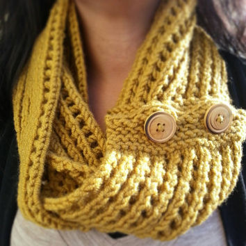 Hand Knit Mesh Infinity Scarf Detailed with a Wooden Button Choose from a Variety of Colors