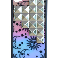 Sun & Moon Silver Studded Pyramid iPhone 4/4s Case