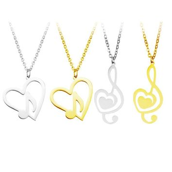 New Design Fashion Minimalist Simple Hollow Heart Shaped Musical Note Pendant Stainless Steel Necklace Jewelry Accessories