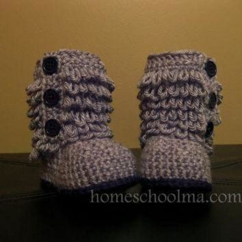 DCCK8X2 Crochet Ugg inspired Baby Boots Grey Black sole & by homeschoolma