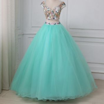 Sexy Dresses Luxury Beaded Crystals Ball Gown Two Pieces Crop Top Sweet Dress Party Gowns