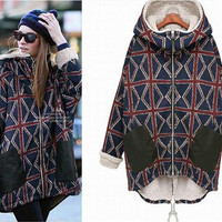 EsnaView Women Girl Hooded Overcoat Clothing Outwear Long Warm Thick Vintage Flag Style with Hood for Women Winter Warm Coat