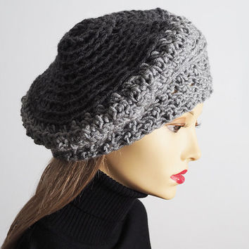 Gray slouchy beanie, Ready to ship, Chunky knit rasta tam, Cozy multicolor crochet dreads beret, Textured fashion crown, Warm winter hat