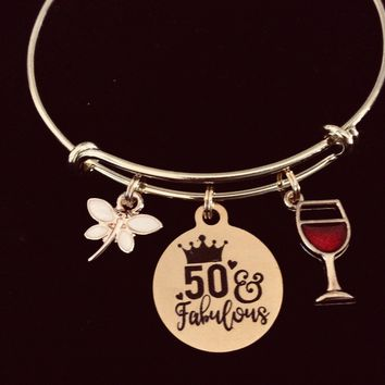 Gold Expandable Bracelet 50 and Fabulous Adjustable Wire Bangle Meaningful 50th Birthday 50 One Size Fits All Gift
