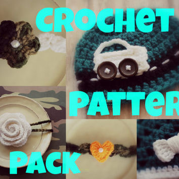 Crochet Pattern Pack - 5 Patterns - Car Applique - Rose - Bow - 5 Petal Flower - Heart - Patterns - Instant Download