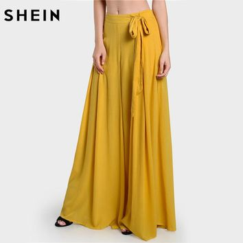 High Waist Pants Yellow Loose Pants for Women